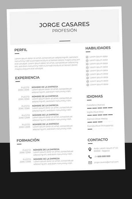 Formato Currículum Vitae Sencillo y Básico Sin Foto para Descargar Gratis