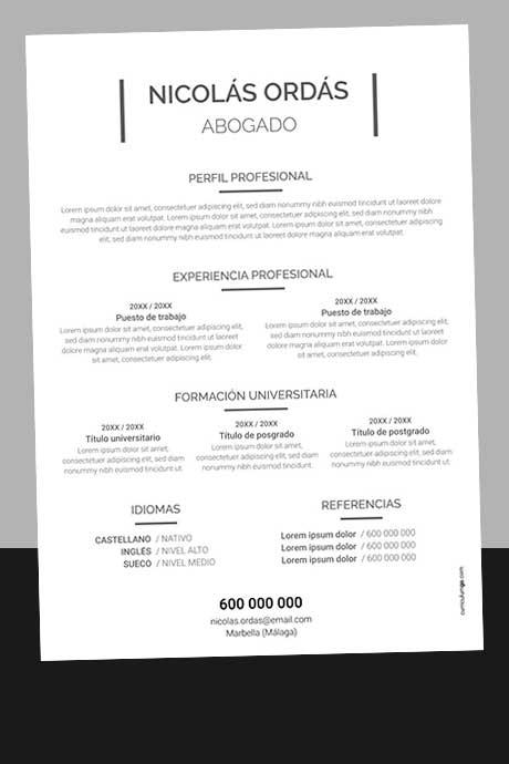 Modelo Currículum Vitae Básico y Sencillo Sin Foto para Descargar Gratis