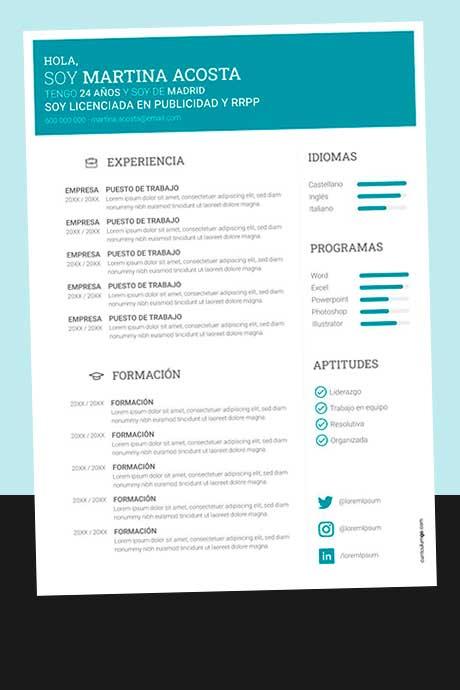 Modelo de Currículum Vitae Simple Sin Foto para Descargar Gratis
