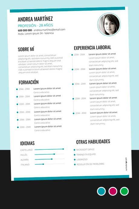 Modelo Plantilla Currículum Vitae Cronológico para Descargar Gratis
